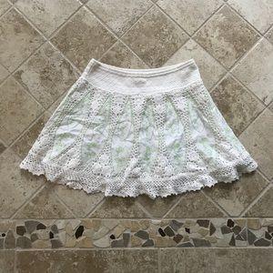Free People Paisley Crochet Mini Skirt